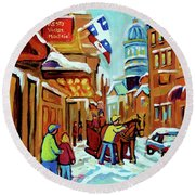 Rue St Paul Montreal Streetscene Cafes And Caleche Round Beach Towel