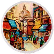 Rue St. Paul Old Montreal Streetscene Round Beach Towel