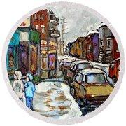Achetez Les Petits Formats Scenes De Montreal St Viateur Bagel And Cola Truck Buy Montreal Painting  Round Beach Towel