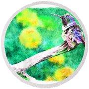 Ruffled Hummingbird - Digital Paint 5 Round Beach Towel