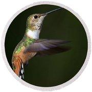Rufous Hummingbird In Flight Round Beach Towel