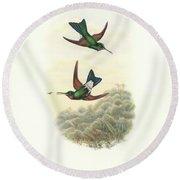 Rufous-webbed Brilliant Hummingbird Heliodoxa Branickii Round Beach Towel by John and Elizabeth Gould