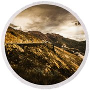 Rugged And Intense Mountain Background Round Beach Towel