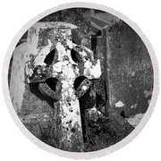 Rugged Cross At Fuerty Cemetery Roscommon Ireland Round Beach Towel