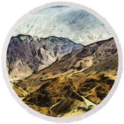 Rugged Mountains Of North India Round Beach Towel