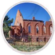 Ruined Church In Rural Utah Round Beach Towel