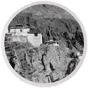 Ruins And Basgo Monastery Surrounded With Stones And Rocks Ladakh Round Beach Towel