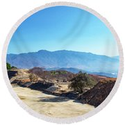 Ruins And Hills Round Beach Towel