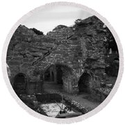 Ruins At Donegal Abbey Donegal Ireland Round Beach Towel