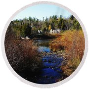 Ruins In Autumn Round Beach Towel