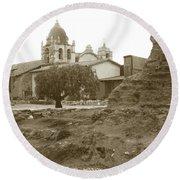 Ruins Of Carmel Mission Circa 1924 Round Beach Towel