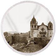 Ruins Of Carmel Mission, Monterey, Cal. Circa 1882 Round Beach Towel