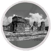 Ruins Of Ek Balan Round Beach Towel