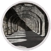 Ruins Of San Jose-black And White Round Beach Towel