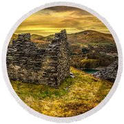 Ruins Of Snowdonia Panorama Round Beach Towel