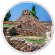 Ruins Of The Ancient City Of Side Round Beach Towel