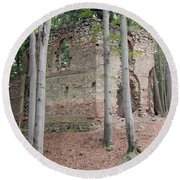 Ruins Of The Baroque Chapel Of St. Mary Magdalene Round Beach Towel