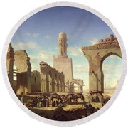 Ruins Of The Mosque Of The Caliph El Haken In Cairo Round Beach Towel by Prosper Georges Antoine Marilhat