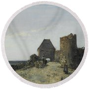 Ruins Of The Rosemont Castle  Round Beach Towel