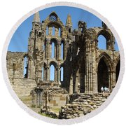 Ruins Of Whitby Abbey Round Beach Towel