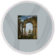 Ruins With The Statue Of Marcus Aurelius Giovanni Paolo Panini Round Beach Towel