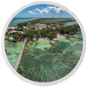 Rum Point Beach Panoramic Round Beach Towel