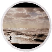 Run, You Are Free Round Beach Towel by Riad Belhimer