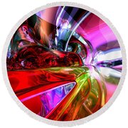 Runaway Color Abstract Round Beach Towel by Alexander Butler