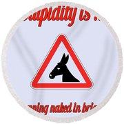 Running Bigstock Donkey 171252860 Round Beach Towel