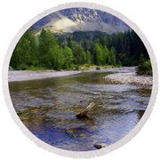 Running Eagle Creek Glacier National Park Round Beach Towel