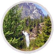 Running Eagle Falls Glacier National Park Round Beach Towel