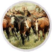 Running Free Horses IIi Round Beach Towel