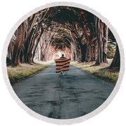 Running In The Forest Round Beach Towel