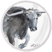 Running Texas Longhorn Watercolor Painting By Kmcelwaine Round Beach Towel