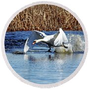 Running On Water I Round Beach Towel