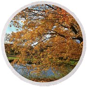 Rural Autumn Country Beauty Round Beach Towel