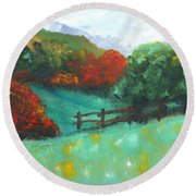 Rural Autumn Landscape Round Beach Towel