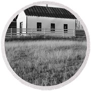 Rural Church Black And White Round Beach Towel