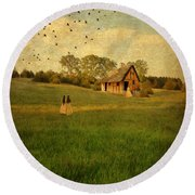 Rural Cottage Round Beach Towel