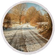 Rural Country Road Round Beach Towel