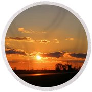 Rural Il Sunset Reflections Round Beach Towel