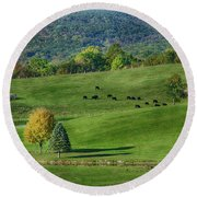 Rural Life Round Beach Towel