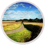 Rural Road In France Round Beach Towel