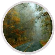 Rural Road In North Carolina With Autumn Colors Round Beach Towel