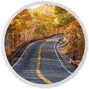Rural Road Running Along The Maple Trees In Autumn 2 Round Beach Towel