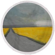Rural Road Trough Canola Field Round Beach Towel