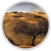 Rural Spain View Round Beach Towel