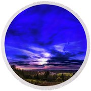 Rural Sunset Panorama Round Beach Towel