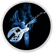 Rush 77 #15 Enhanced In Blue Round Beach Towel