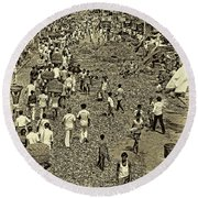 Rush Hour - Antique Sepia Round Beach Towel